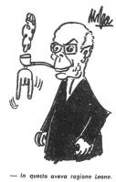 VIGNETTA Sandro Pertini, presidente della Repubblica italiana, con un paio di corna scaramantiche appese alla pipa. La vignetta, firmata Giovanni Mosc