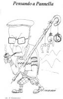 """VIGNETTA Titolo:""""Pensando a Pannella"""". Sandro Pertini, porta sulla spalla il suo bastone da alpinista, dal quale pendono vari amuleti portafortuna. La"""