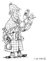 """VIGNETTA Marco Pannella, nei panni di Sherlock Holmes, esamina alla lente la pipa di Pertini. La vignetta firmata De Angelis, uscita sul quotidiano """"I"""