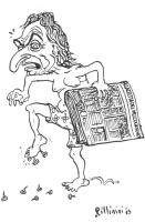 """VIGNETTA Marco Pannella, che tiene in mano il giornale """"La gazzetta del mezzogiorno"""", pesta alcuni chiodi. Vignetta firmata Pillinini, apparsa su """"La"""