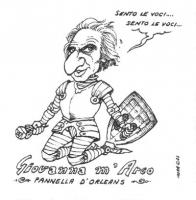 """VIGNETTA Marco Pannella, rivestito di un'armatura, afferma: """"Sento le voci...sento le voci..."""". Titolo in calce: """"Giovanna m'Arco - Pannella d'Orleans"""