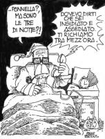 """VIGNETTA Il presidente della Repubblica Pertini, a letto, con il berretto da notte, riceve una telefonata: """"...Pannella? Ma sono le tre di notte?!"""", E"""