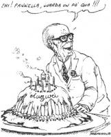 """VIGNETTA Sandro Pertini mostra a Pannella la torta del proprio 80° compleanno. """"Ehi! Pannella, guarda un po' qua!!!"""". La vignetta, firmata Fremura, ap"""