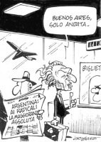 """VIGNETTA All'aeroporto, un signore tiene aperto un giornale sulla cui prima pagina si legge: """"Argentina: ai radicali la maggioranza assoluta"""". Pannell"""
