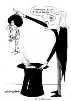 """VIGNETTA Marco Pannella estrae dal cilindo Toni Negri, esclamando: """"L'onorevole è mio e me lo gestisco io!"""". Il disegno di Marcantonio, pubblicato sul"""