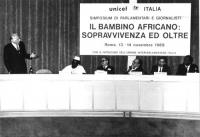 Simposium di parlamentari e giornalisti: IL BAMBINO AFRICANO: SOPRAVVIVENZA ED OLTRE, promosso da Unicef Italia. Marco Pannella, primo a sinistra, int