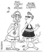 """VIGNETTA Marco Pannella al mare. Pannella: """"Sono 3 giorni che digiuno"""". Il bagnino: """"Allora può fare il bagno"""". Vignetta firmata Passepartout, uscita"""