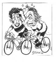VIGNETTA Pannella e Berlinguer, in veste di ciclisti impegnati in una gara, si tirano i capelli l'un l'altro. Vignetta firmata Pillinini, apparsa sul