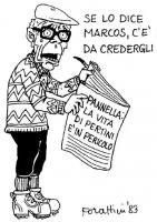 """VIGNETTA Sandro Pertini, presidente della Repubblica, tiene aperto un giornale sulla cui prima pagina si legge: """"Pannella: la vita di Pertini è in per"""