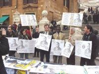 Cerimonia-manifestazione per l'anniversario della morte di Martin Luther King, a piazza di Spagna, a Roma, promossa dalla lista Bonino. Nella foto, al