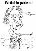 """VIGNETTA Titolo: """"Pertini in pericolo"""". Marco Pannella trivella il fondale marino (alla maniera di un rabdomante). Vignetta firmata Bevilacqua apparsa"""
