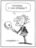 """VIGNETTA Marco Pannella, con un teschio in mano, si chiede: """"Tessere o non essere?"""". La vignetta, firmata Origone, è uscita sul quotidiano """"Secolo XIX"""