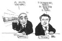 """VIGNETTA Marco Pannella punta l'occhio a un binocolo: """"Al solito, vedo nero."""". Gianluigi Melega, seduto accanto a lui: """"Ti suggerirei, Marco, di togli"""