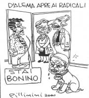 """VIGNETTA Titolo: """"D'Alema apre ai radicali"""". Massimo D'Alema apre la porta di casa a Marco Pannella e ad Emma Bonino. Nell'appartamento, c'è un cagnol"""