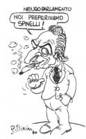 """VIGNETTA Titolo: """"Neuroparlamento"""". Pannella, fumando uno spinello: """"Noi preferivamo spinelli!"""". La vignetta, firmata Pillinini, uscita sulla """"Gazzett"""