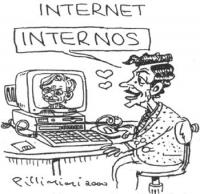 """VIGNETTA Titolo: """"Internet"""". Massimo D'Alema si rivolge amorosamente al ritratto di Emma Bonino che riempie lo schermo del suo computer, affermando: """""""