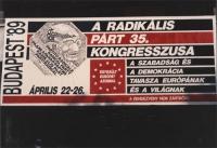 35° congresso PR. Banner del congresso con scritte in ungherese e logo PR