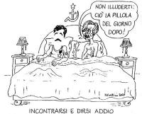 """VIGNETTA Emma Bonino, a letto con Massimo D'Alema: """"Non illuderti: ciò la pillola del giorno dopo!"""". Titolo in calce: """"Incontrarsi e dirsi addio"""". La"""