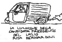 """VIGNETTA Rita Bernardini alla guida di un """"fiorino"""". In calce: """"La limousine della candidata presidente del Lazio Rita Bernardini"""". Vignetta di Vincin"""