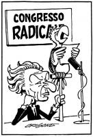 VIGNETTA Marco Pannella, a un congresso radicale, fa parlare al microfono un pappagallo. La vignetta, firmata Origone, si riferisce alla presenza di E