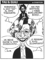 """VIGNETTA Emma Bonino (dalla cui testa spunta Massimo Cacciari): """"Ribadisco il mio 'no' al voto disgiunto. Ma per battere l'asse Berlusconi - Bossi va"""