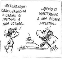 """VIGNETTA La figlia di Bobo al padre: """"...referendum: Craxi, Pannella e Carniti ci invitano a non votare..."""". Risponde Bobo: """"...quando ci inviteranno"""
