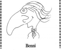 """VIGNETTA Caricatura di Marco Pannella. In calce: """"Benni"""". Vignetta apparsa sul """"Manifesto""""."""
