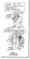 """VIGNETTA Marco Pannella, spalancando la porta, schiaccia un pappagallo pazientemente addestrato da Enzo Tortora a ripetere """"Radio radicale"""". Vignetta"""