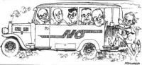 """VIGNETTA Pannella sale su un autobus in corso - sulla cui fiancata è scritto: """"No"""" - guidato da Bettino Craxi, e i cui passeggeri sono: De Mita, Longo"""