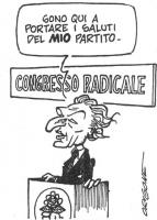 """VIGNETTA Marco Pannella, alla tribuna del XXX Congresso del Partito Radicale, esordisce: """"Sono qui a portare i saluti del MIO partito"""". (Al congresso"""
