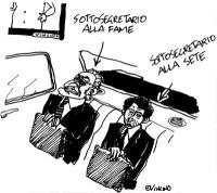 """VIGNETTA Marco Pannella e Giovanni Negri sono indicati rispettivamente come """"sottosegretario alla fame"""" e """"sottosegretario alla sete"""". Dopo l'approvaz"""