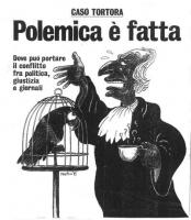 """VIGNETTA Copertina dell' """"Espresso"""". Titolo: """"Caso Tortora - Polemica è fatta"""". Occhiello: """"Dove può portare il conflitto fra politica, giustizia e gi"""