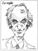 """VIGNETTA Titolo: """"La voglia"""". Marco Pannella reca sulla fronte una voglia su cui è impressa la scritta: """"No"""". La vignetta, firmata Fremura, uscita sul"""