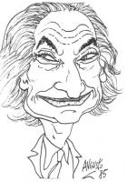 """Ritratto - caricatura di Marco Pannella che sfodera un arcigno sorriso. Vignetta firmata Augusto, apparsa sulla """"Gazzetta del Mezzogiorno""""."""