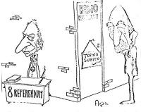 """VIGNETTA Pannella è seduto a un tavolo per la raccolta di firme sugli 8 referendum. Sulla porta di Radio Radicale ha lasciato il cartello: """"Torno subi"""