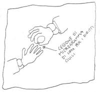 """VIGNETTA Una mano passa ad un'altra mano una microdose di hashish. Didascalia: """"Cessione di microgrammo di lotta per i diritti civili"""". Vignetta inedi"""