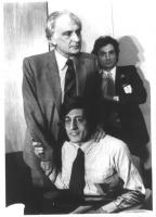 Marco Pannella (in piedi) e Giuseppe Rippa (seduto). Bianco e nero.