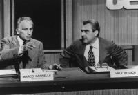 Marco Pannella e Villy De Luca, nel  corso della registrazione di una tribuna politica. (2 copie + negativo)