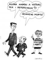 """VIGNETTA Emma Bonino tiene in mano il cartello: """"Suffragio universale - votano anche I MORTI"""". Gianfranco Fini chiede a Berlusconi: """"Allora andrai a v"""
