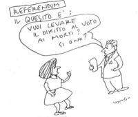"""VIGNETTA Titolo: """"Referendum"""". Un tizio: """"Il quesito è: vuoi levare il diritto al voto ai morti? Si' o no?"""". Vignetta firmata Vincino, apparsa sul """"Co"""