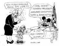 VIGNETTA Pannella, in veste di signora matura, si reca dal premier Giuliano Amato - Topolino, tenendo per mano la piccola Emma Bonino. Pannella ad Ama
