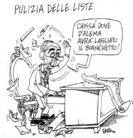 """VIGNETTA Titolo: """"Pulizia delle liste"""". Il premier Giuliano Amato mette a soqquadro la sua scrivania: """"Chissà dove D'Alema ha lasciato il bianchetto!"""""""