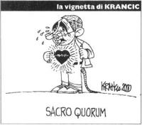 """VIGNETTA Il premier Giuliano Amato si apre la giacca, denudandosi un cuore che batte ansiosamente. Titolo in calce: """"Sacro quorum"""". La vignetta di Kra"""