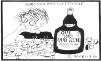 """VIGNETTA Titolo: """"Sbronza post-elettorale"""". Emma Bonino, sola e disperata, si ubriaca. Accanto a lei una bottiglia sulla cui etichetta si legge: """"Qui"""
