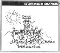 """VIGNETTA Titolo: """"Danza della pioggia"""". D'Alema, Veltroni e Segni, travestiti da pellirosse, corrono in circolo intorno a un totem che ha la fattezze"""