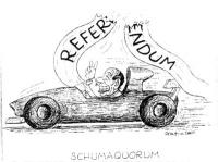 """VIGNETTA Berlusconi alla guida di una macchina sportiva, taglia il nastro del traguardo sul quale si legge: """"Referendum"""". Titolo in calce: """"Schumaquor"""