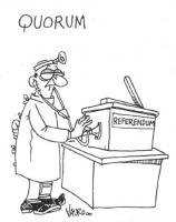 """VIGNETTA Un medico ausculta un'urna elettorale. Titolo: """"Quorum"""". La vignetta di Vauro si riferisce alle incertezze circa il raggiungimento del quorum"""