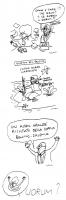 """VIGNETTA Quattro vignette incolonnate di Vincino, uscite sul """"Corriere della sera"""" che commentano il mancato raggiungimento del quorum, dei 7 referend"""