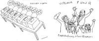 """VIGNETTA Due vignette affiancate di Vincino. Nella prima, 7 urne referendarie. Titolo: """"Natura morta"""". Nella seconda, il Partito Unico Non Quorum, esu"""