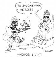 """VIGNETTA Emma Bonino, in veste di Salomé, consegna su un vassoio al re Berlusconi, la testa di Pannella. Berlusconi: """"Tu Salom'Emma, me 'Rode"""". Titolo"""